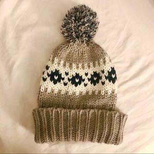 Gap patterned pompom knit beanie